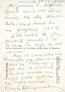 Felicitació nadalenca de Aleixandre a Roig, 1957. (Arxiu Alfons Roig, Biblioteca del MuVIM).