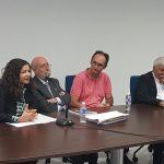 El president de l'Acadèmia de BBAA acompanyat per Mar Beltrán, Alberto Peñín i el Dtor del CEIC Lluís Miret durant l'acte de presentació del llibre.