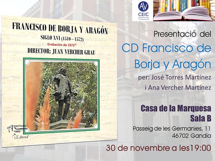 PRESENTACIÓ DEL CD «FRANCISCO DE BORJA Y ARAGÓN»