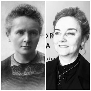 Marie Curie i Adela Muñoz caracteritzada per a la conferencia en Gandia