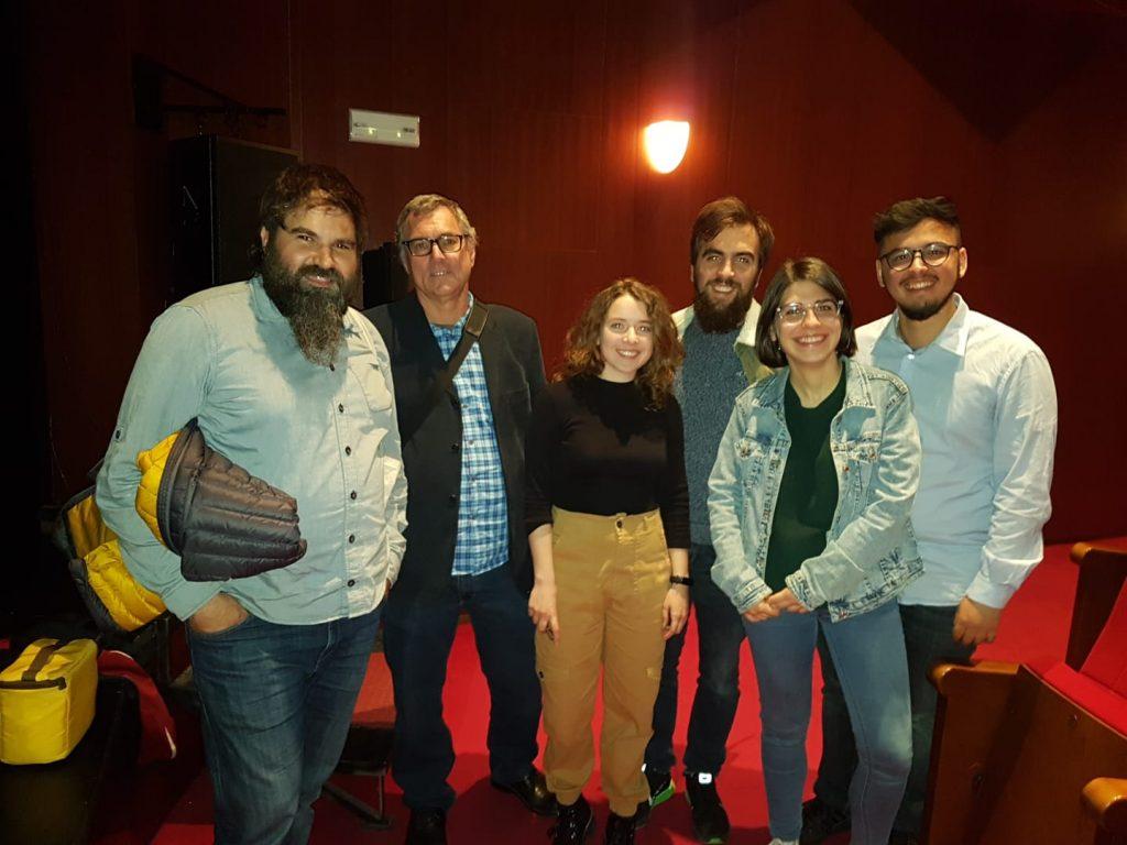 Xavier Rodenas i Boro Mañó amb Blanca Aranda, Carlos Antonaya, María López i Marcos Ruiz, part de l'equip responsable del documental: •Gandia, construint història: L'antic Convent de Sant Roc