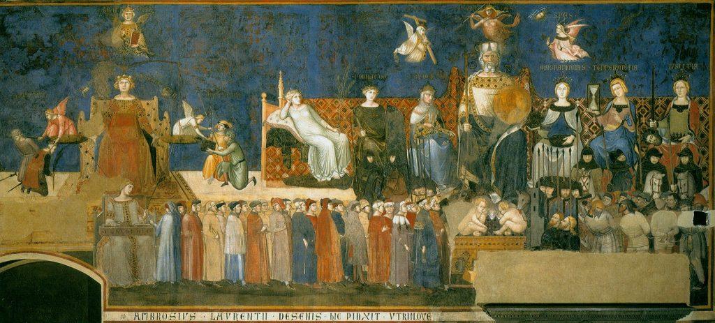 Alegoría del Buen Gobierno. sXV.,  Pietro i Ambrogio  Lorenzetti